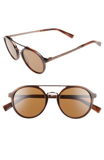 Men's Ermenegildo Zegna Retro 50Mm Sunglasses - Havana/ Light Bronze/ Brown