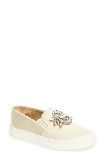 Badgley Mischka Barre Crystal Embellished Slip-On Sneaker, Ivory