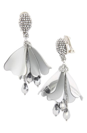 Women's Oscar De La Renta Small Impatiens Flower Drop Clip Earrings