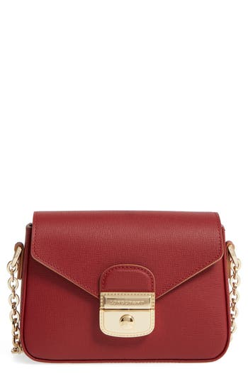Longchamp Small Le Pliage Heritage Leather Crossbody Bag - Red