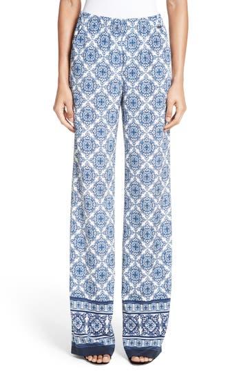 Women's St. John Collection Kali Tile Print Stretch Silk Pants