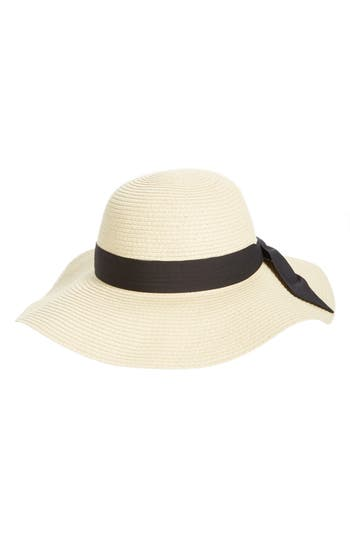 Women's Vintage Hats | Old Fashioned Hats | Retro Hats Womens Bp. Bow Band Floppy Straw Hat - Beige $25.00 AT vintagedancer.com