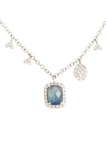 Women's Meira T Diamond & Semiprecious Stone Dangle Charm Necklace