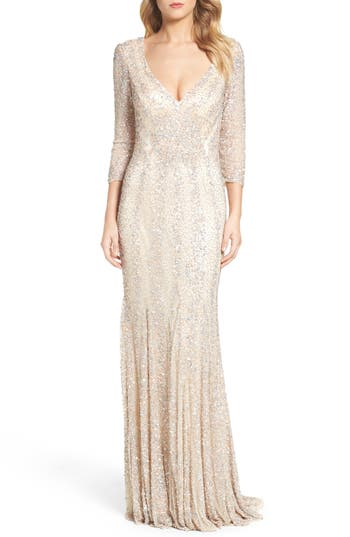 Vintage Evening Dresses and Formal Evening Gowns Womens MAC Duggal Sequin Gown $578.00 AT vintagedancer.com
