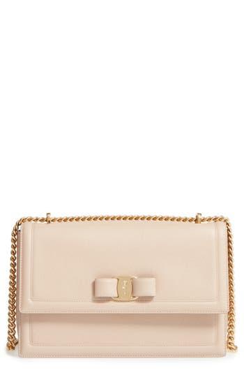 Salvatore Ferragamo Medium Leather Shoulder Bag - Beige