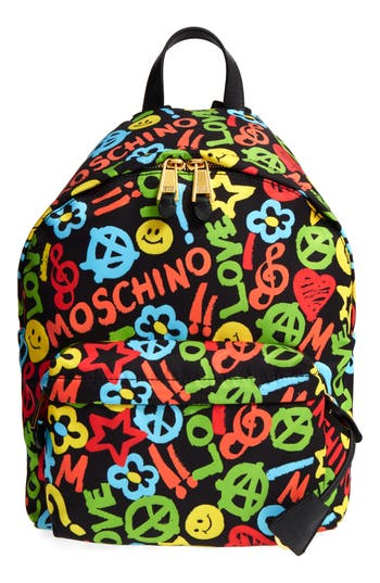 Moschino Archive Print Tactel Nylon Backpack -