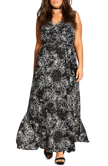 Plus Size Women's City Chic Rose Cage Maxi Dress