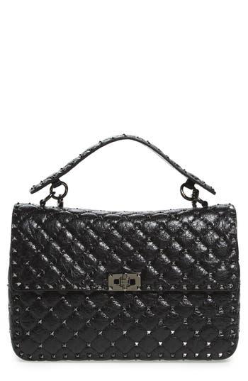 Valentino Garavani Rockstud Leather Top Handle Satchel - Black