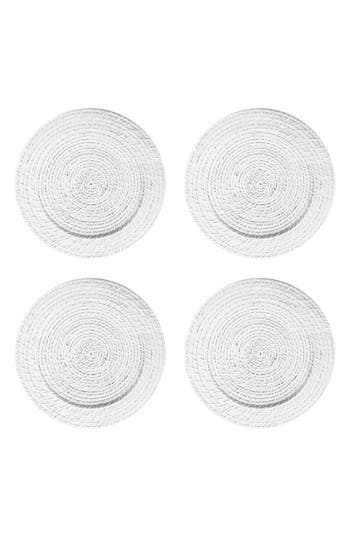 American Atelier Set Of 4 Rattan Charger Plates, Size One Size - White