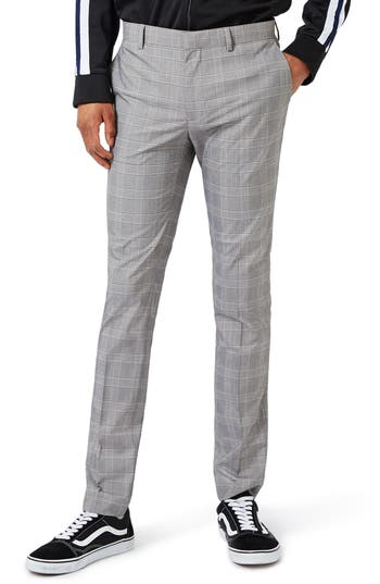 Men's Topman Check Ultra Skinny Fit Suit Trousers
