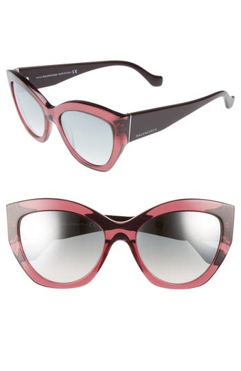 Women's Balenciaga 56Mm Cat Eye Sunglasses - Burgundy/ Ruthenium/ Gradient