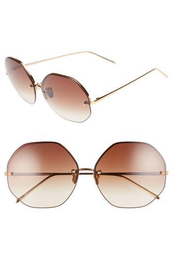 Women's Linda Farrow 63Mm Semi Rimless Round Titanium Sunglasses -