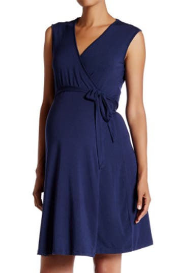 Women's Tart Maternity 'Charmaine' Print Jersey Maternity Wrap Dress, Size Small - Black