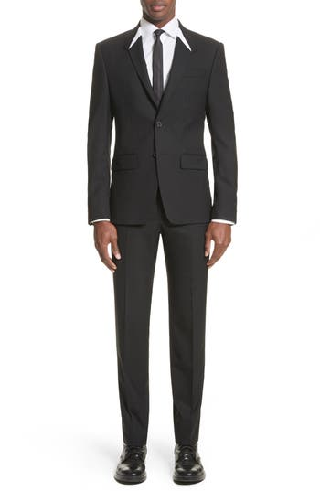 Men's Givenchy White Inset Madonna Collar Wool Suit