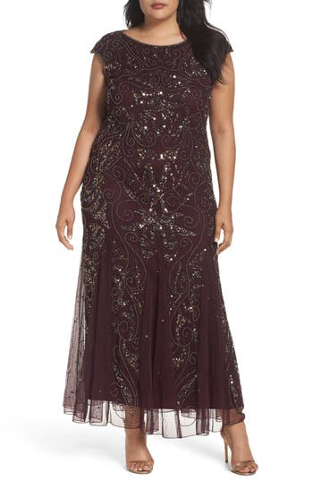 1920s Plus Size Dresses & Quality Flapper Costumes Womens Pisarro Nights Beaded Gown $136.80 AT vintagedancer.com