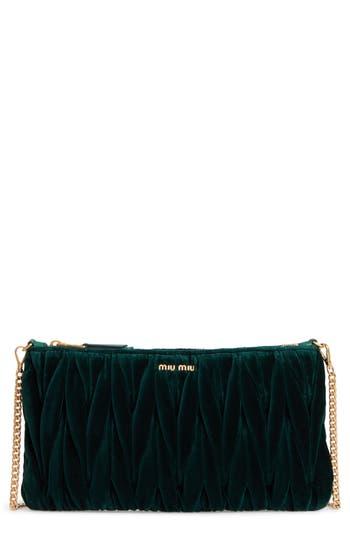Miu Miu Velvet Matelasse Clutch - Green