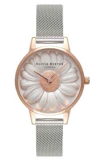 Women's Olivia Burton Flower Show Mesh Strap Watch, 30Mm