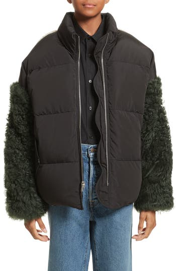 Sandy Liang Eldridge Puffer Coat With Genuine Shearling Sleeves, 6 FR - Black
