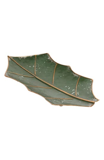 Foreside Holiday Leaf Tray, Green