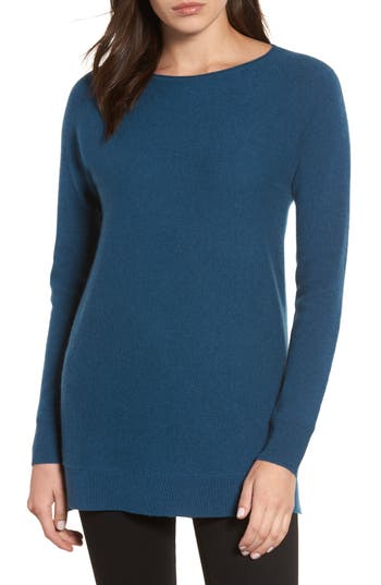 Women's Halogen High/low Wool & Cashmere Tunic Sweater, Size Large - Blue