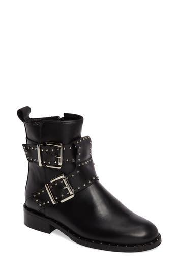 Women's Charles David Studded Buckle Strap Boot, Size 36 EU - Black