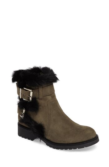 Charles David Rustic Genuine Rabbit Fur Cuff Boot Green
