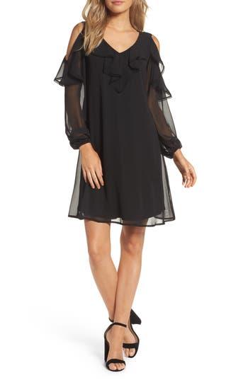 Taylor Dresses Chiffon Cold Shoulder A-Line Dress, Black