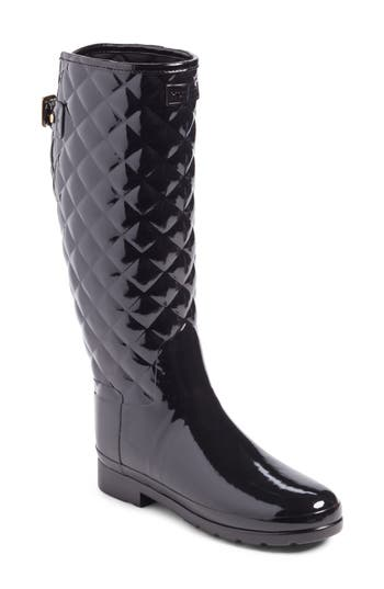 Hunter Original Refined High Gloss Quilted Rain Boot, Black
