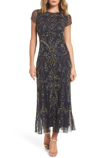 1920s Style Dresses, Flapper Dresses Pisarro Nights Embellished Mesh Gown Size 16 - Blue $142.80 AT vintagedancer.com