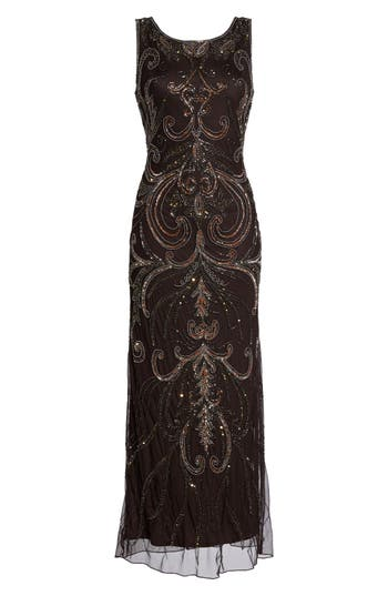 1930s Style Fashion Dresses Womens Pisarro Nights Scoop Back Embellished Gown Size 14 - Brown $178.00 AT vintagedancer.com