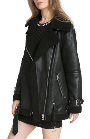 Women's Avec Les Filles Faux Shearling Biker Jacket, Size Large - Black
