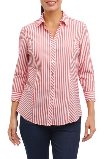 60s Shirts, T-shirt, Blouses | 70s Shirts, Tops, Vests Womens Foxcroft Hope Preppy Stripe Cotton Shirt Size 2 - Red $89.00 AT vintagedancer.com