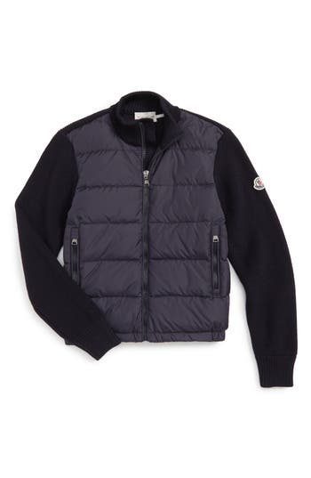 Boy's Moncler Quilted Down Sweater Jacket
