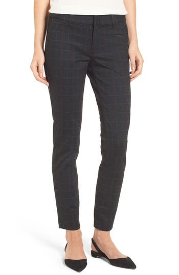 Women's Kut From The Kloth Mia Plaid Ankle Skinny Pants, Size 10 - Black