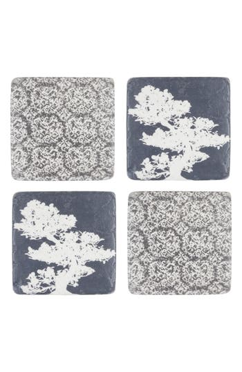 Eightmood Bonsai Set Of 4 Resin Coasters, Size One Size - Blue