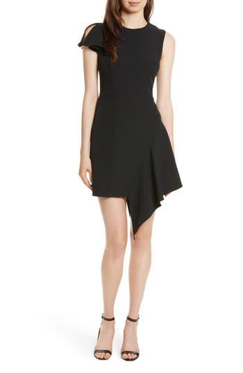 Women's Milly Asymmetrical Ruffle Stretch Cady Dress, Size 10 - Black