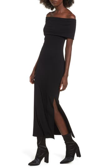 Women's Soprano Foldover Off The Shoulder Ribbed Maxi Dress, Size Medium - Black