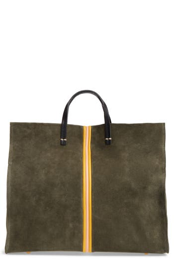 Clare V SIMPLE STRIPE SUEDE TOTE - GREEN