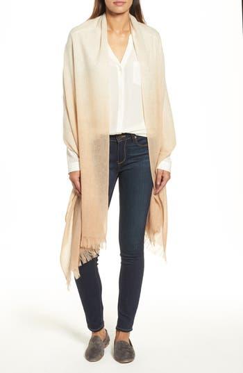 Women's Caslon Dip Dye Cashmere Wrap, Size One Size - Beige