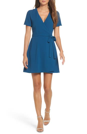 Women's Charles Henry Crepe Wrap Dress, Size X-Small - Blue
