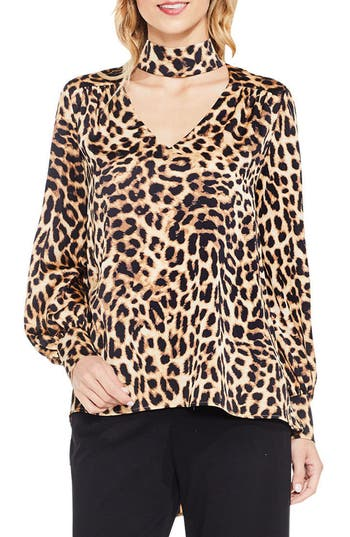Women's Vince Camuto Long Sleeve Animal Choker Blouse