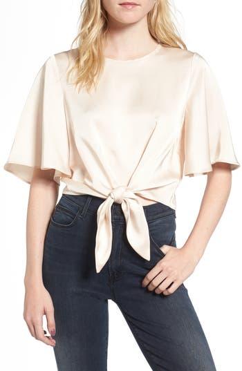 60s Shirts, Tops, Blouses | 70s Shirts, Blouses Womens Line  Dot Vero Tie Front Satin Blouse Size Medium - Beige $75.00 AT vintagedancer.com