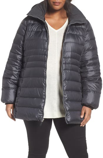 Plus Size Andrew Marc Erin Hooded Down Coat, Grey