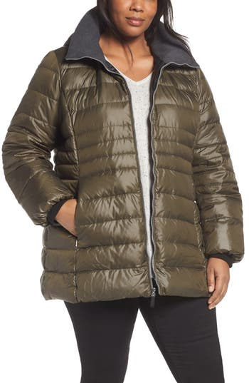 Plus Size Andrew Marc Erin Hooded Down Coat, Green