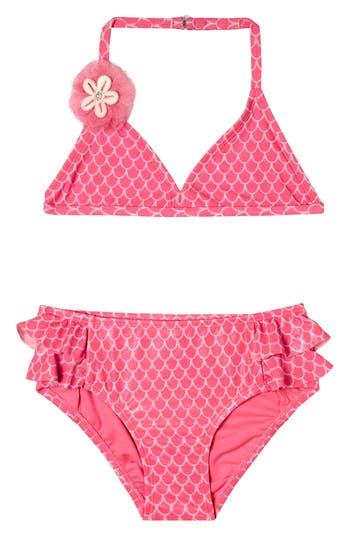 Girl's Hula Star Mermaid Princess Two-Piece Swimsuit, Size 5 - Pink