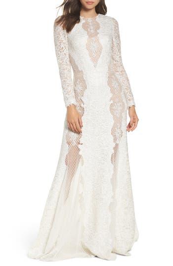 Victorian Wedding Dresses, Shoes, Accessories Womens Tadashi Shoji Lace  Mesh Trumpet Gown $1,078.00 AT vintagedancer.com