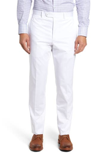 Men's Jb Britches Flat Front Solid Stretch Cotton Trousers