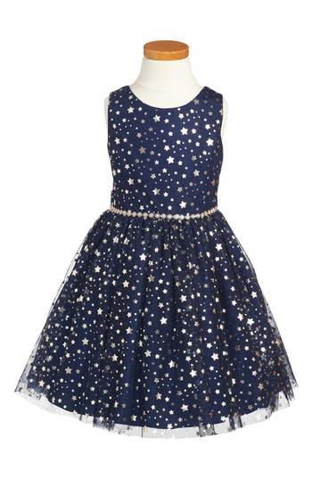 Girl's Pippa & Julie Metallic Stars Party Dress