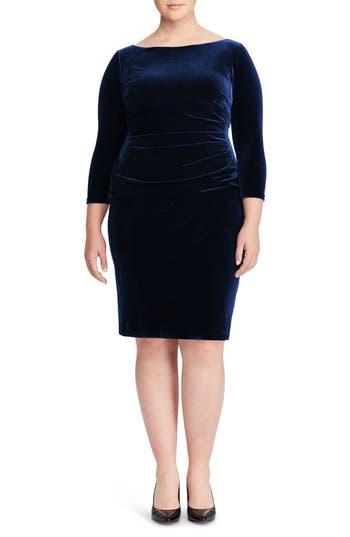 Plus Size Women's Ralph Lauren Stretch Velvet Sheath Dress