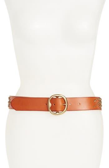 Treasure & Bond Dome Stud Leather Belt, Cognac